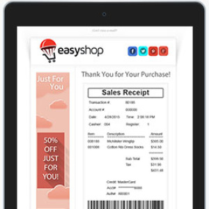 Email with Receipt on Right